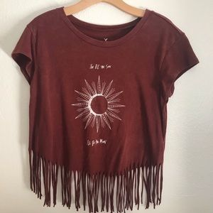 American Eagle Outfitters S Crop Top Fringe Sun